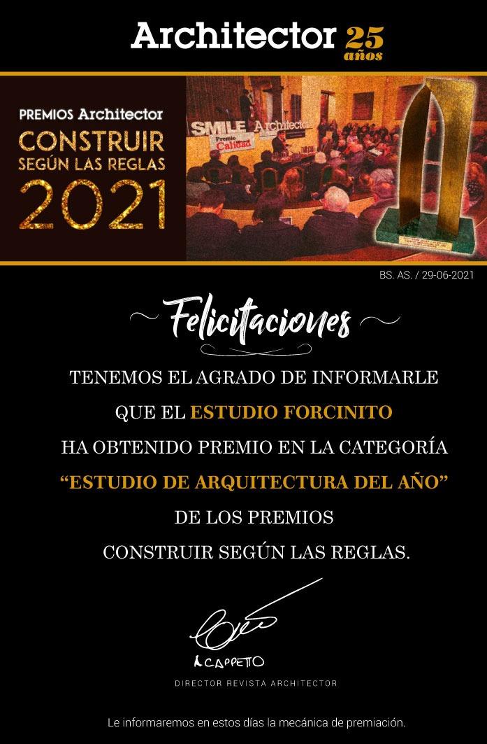 PREMIO AL ¨ESTUDIO DE ARQUITECTURA DEL AÑO 2021¨