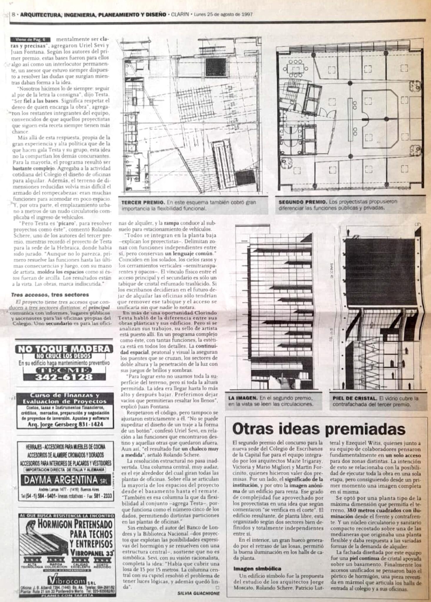 Colegio de Escribanos en Clarín